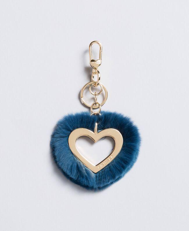 Porte-clés cœur en fourrure Bleu Sarcelle Femme OA8TE1-01