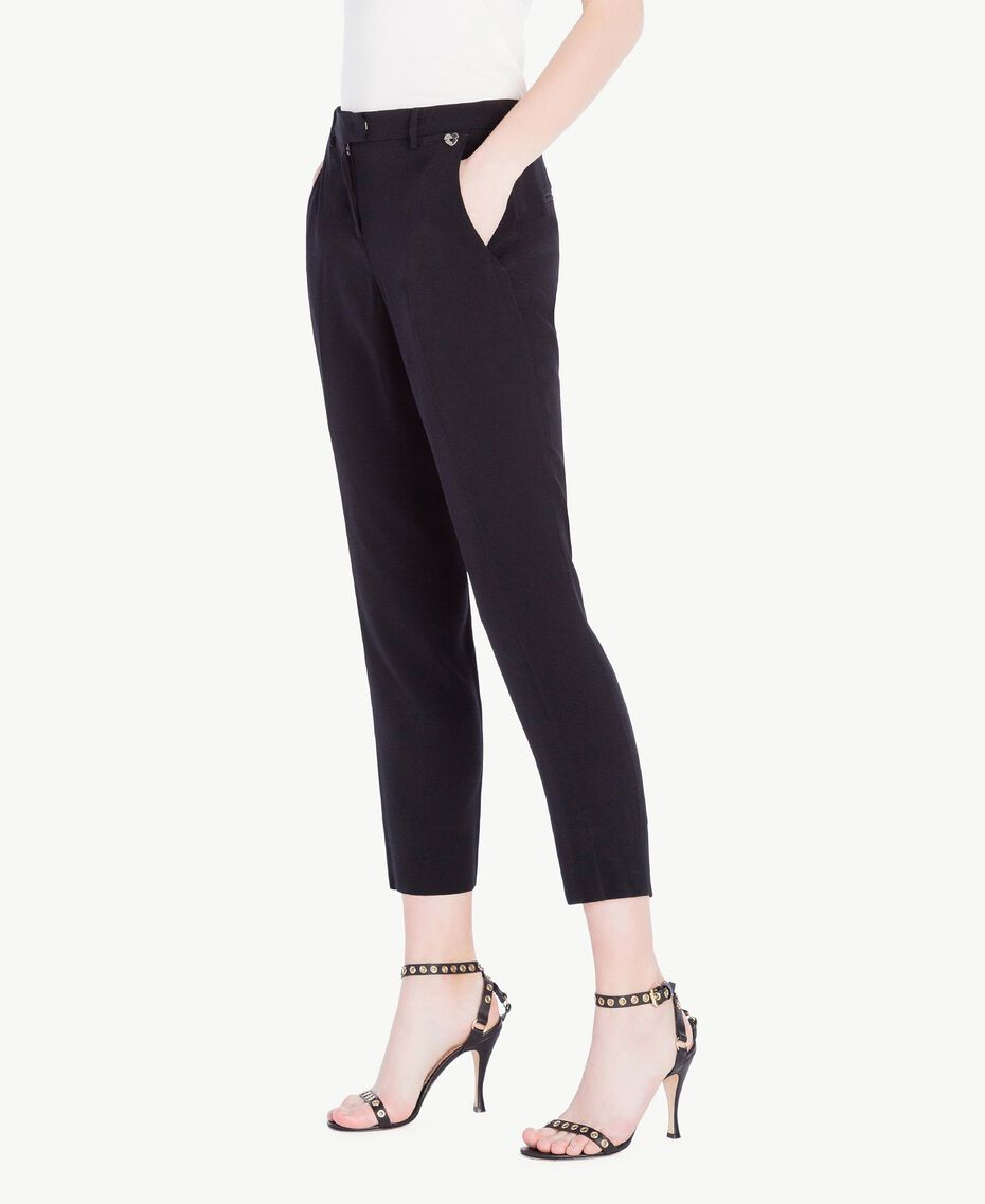 Cady drainpipe trousers Black Woman PS829B-02