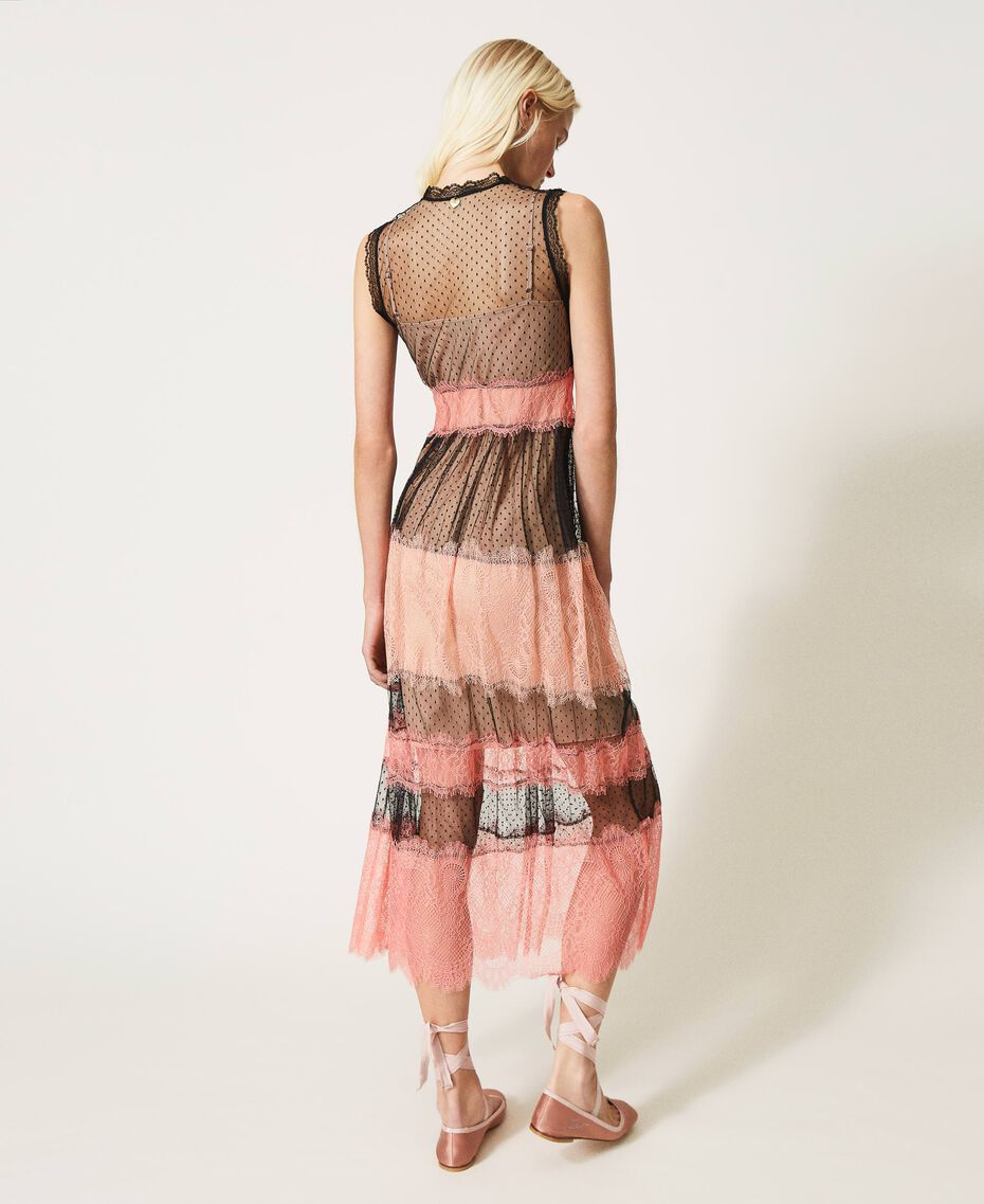 Robe longue en tulle et dentelle Bicolore Noir / Rose «Pêche Blossom» Femme 202TP2202-03