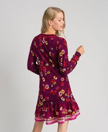 "Floral print dress with flounce ""Petit Fleur"" Burgundy Red Print Woman 192MT3271-03"