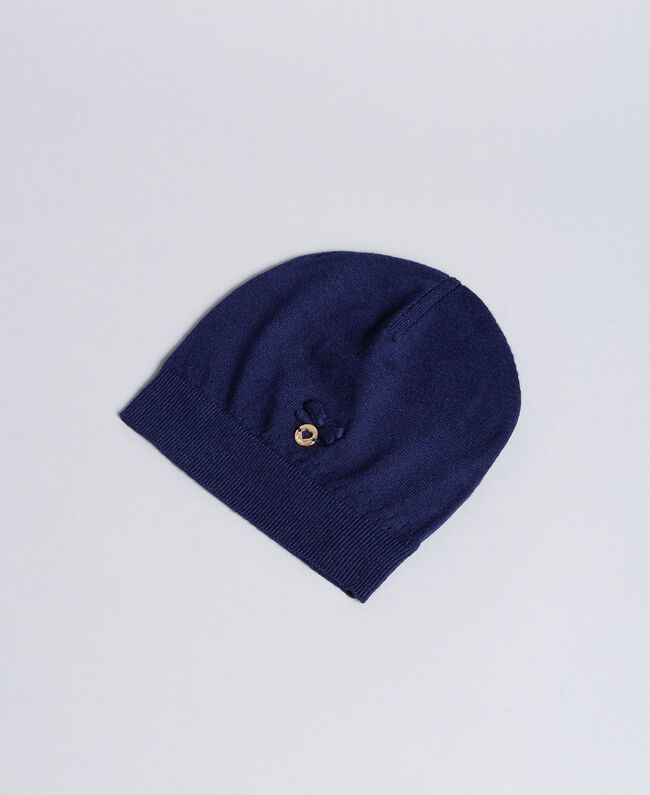 Mütze aus Viskose mit Schleife Blackout Blau Kind GA8HAA-01