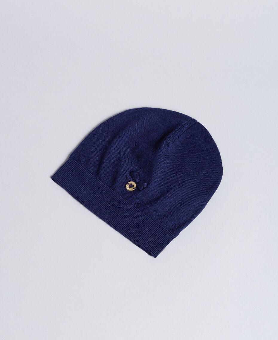 Bonnet en viscose avec nœud Bleu Blackout Enfant GA8HAA-01