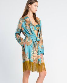 "Floral print twill dressing gown ""Blue Melancholia"" Flower Light Blue Print Woman LA8KRR-02"