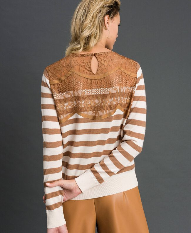 """Wool blend jumper with stripes and lace Creamy White / """"Sequoia"""" Beige Woman 192ST3010-04"""