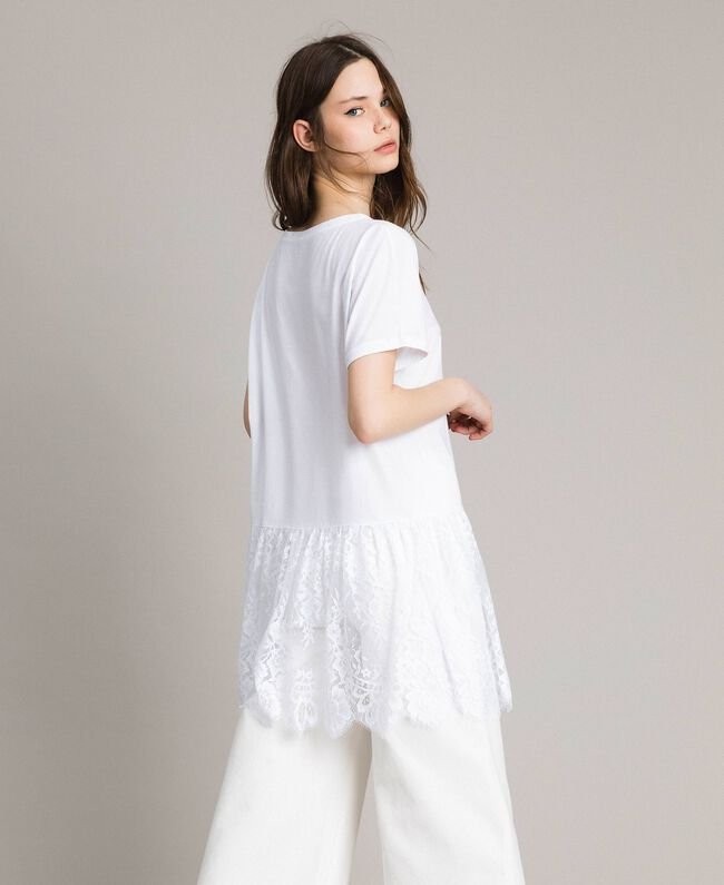 Maxi T-shirt with lace White Woman 191TP260G-03