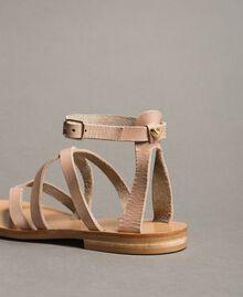 Leder-Sandalen mit Riemchen Nougat Beige Frau 191TCT09U-04