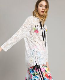 Lace maxi sweatshirt with logo and embroideries White Woman 191MT2241-03
