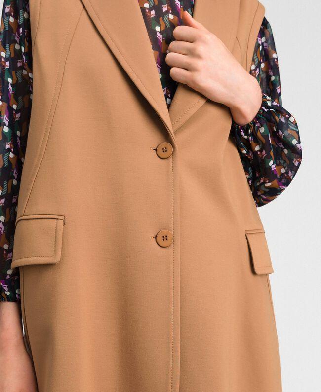 Gilet droit avec revers et boutons Beige «Séquoia» Femme 192ST2132-05