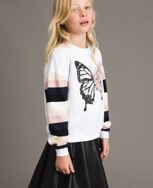 Cotton knitted striped sweatshirt Optical White / Multicolour Striping Child 191GJ2451-03