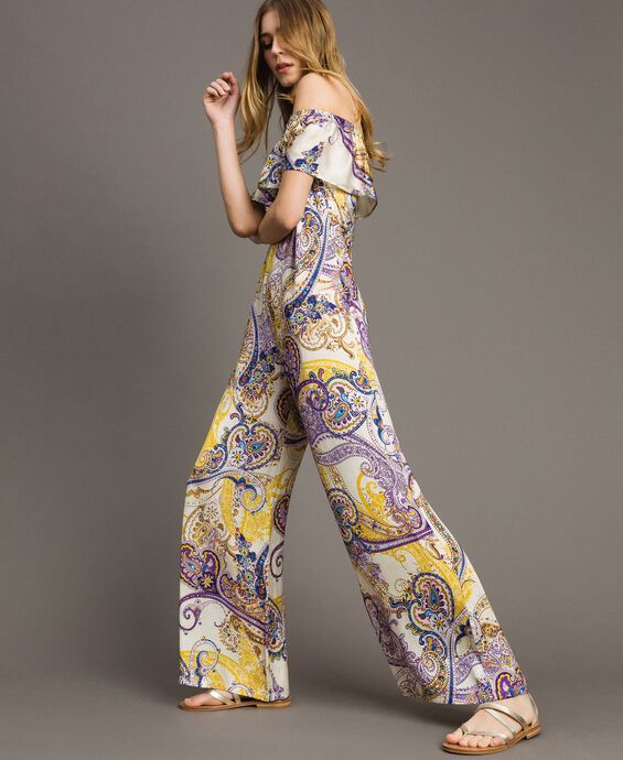Long jumpsuit with paisley pattern