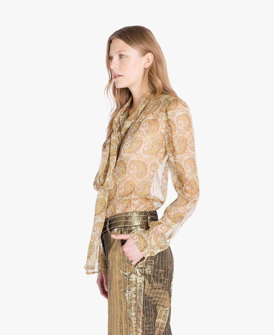 Silk shirt Yellow Macro Paisley Print Woman TS825R-02