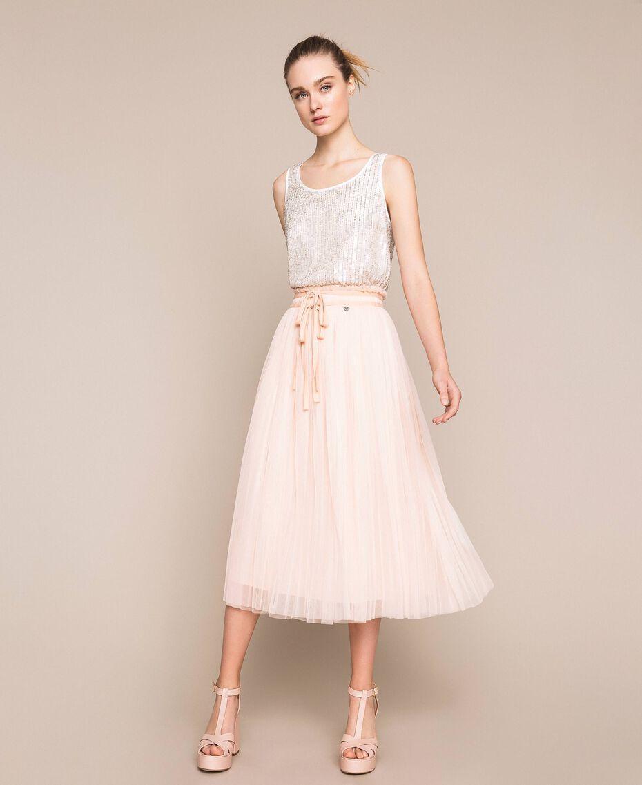 Jupe mi-longue en tulle plissé Quartz Rose Femme 201MP2122-01
