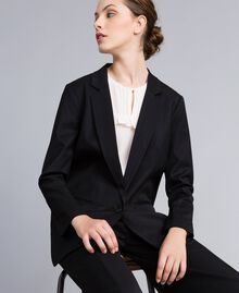 Jacke aus Cool Wool Schwarz Frau PA823R-04