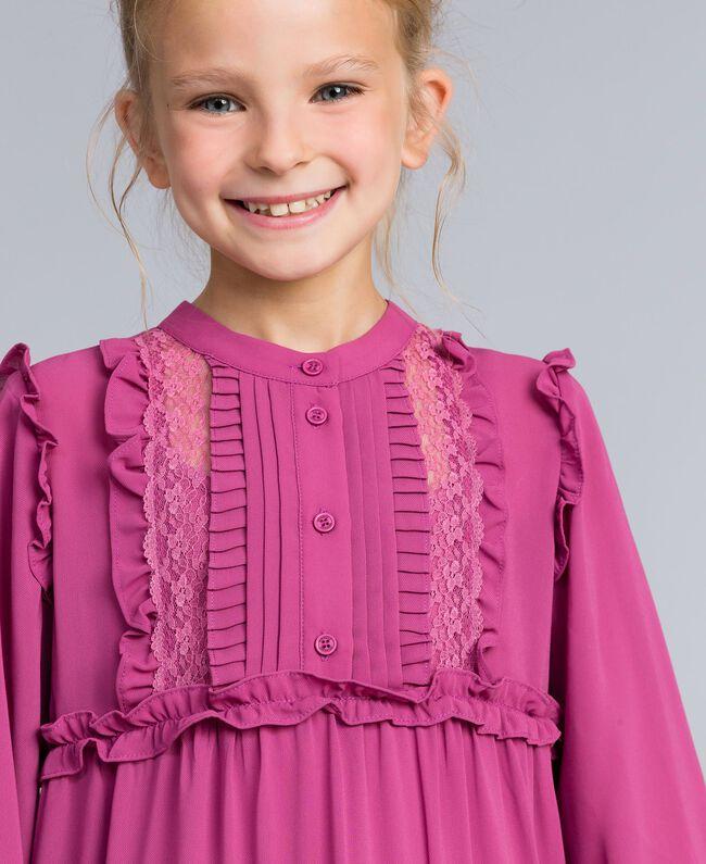 Georgette flounced dress Pink Bouganville Child GA82HA-04