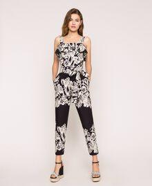 Poplin floral jumpsuit Black Graphical Flower Print Woman 201TT2314-01