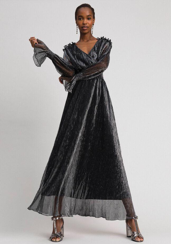 Long dress in metal creponne tulle