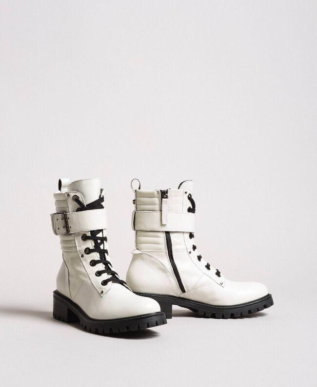 Schnürstiefel aus Leder mit Knöchelriemen Weiß Schnee Frau 191TCP230-01