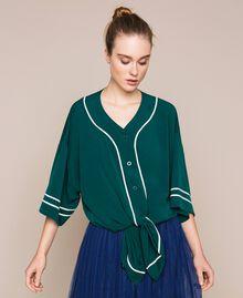 Maxi chemise en crêpe de Chine Émeraude Femme 201MP2080-05