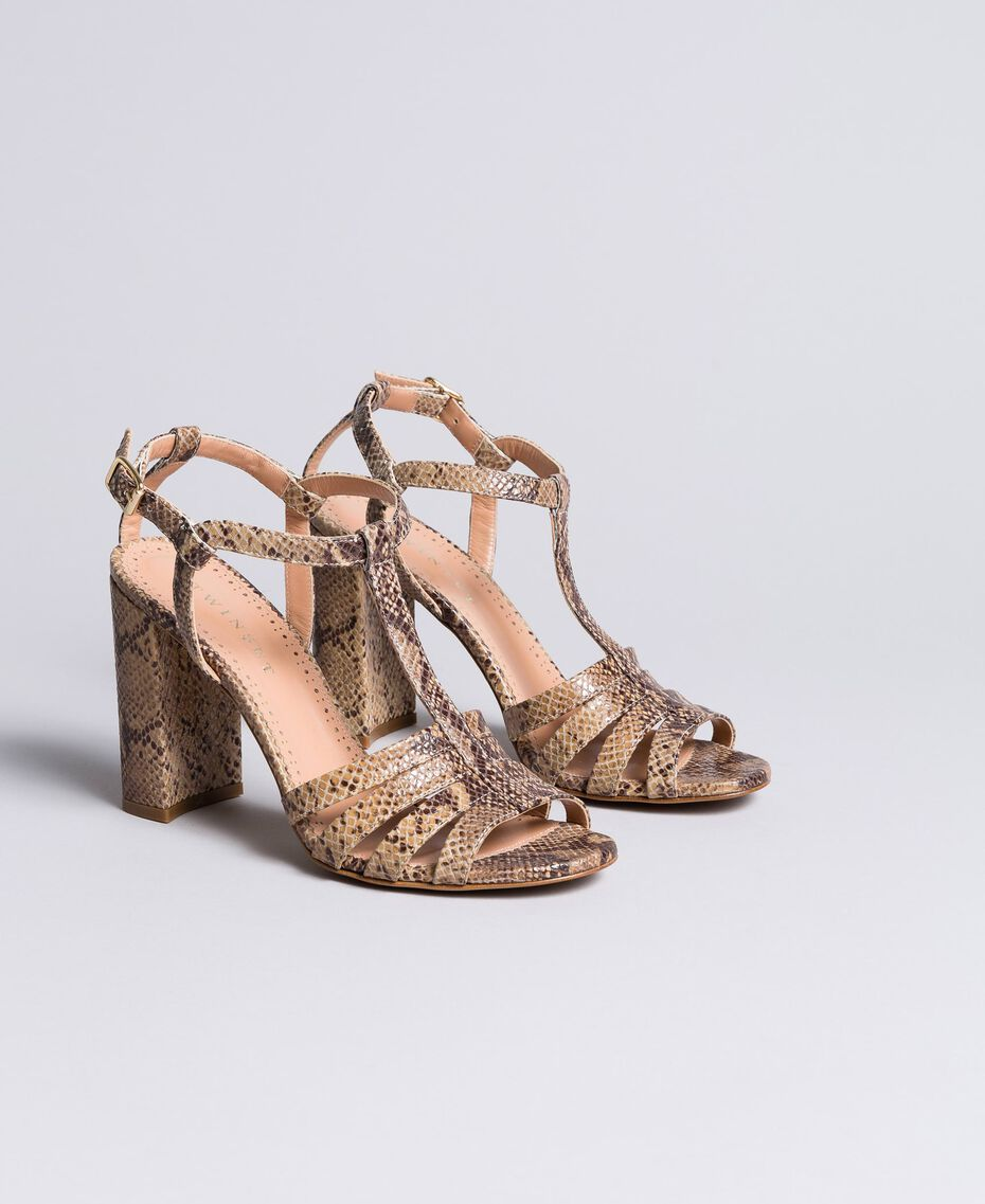 "Sandalias de piel animal print Marrón ""Pitón Roca"" Mujer CA8PQ3-02"