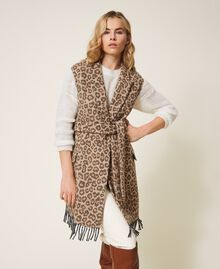 Animal print jacquard wool cloth waistcoat Walnut / Tobacco Animal Print Jacquard Woman 202TT213B-04