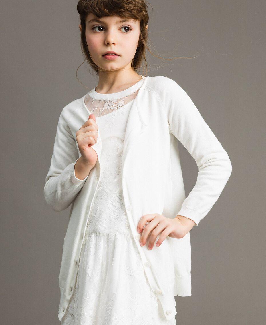 Cardigan aus Baumwolle mit Spitze Mattweiß Kind 191GJ3021-02