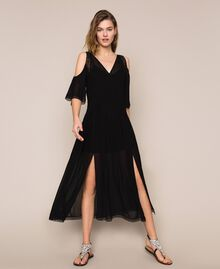 Robe longue en crêpe georgette avec broderies et dentelle Noir Femme 201TT2083-01