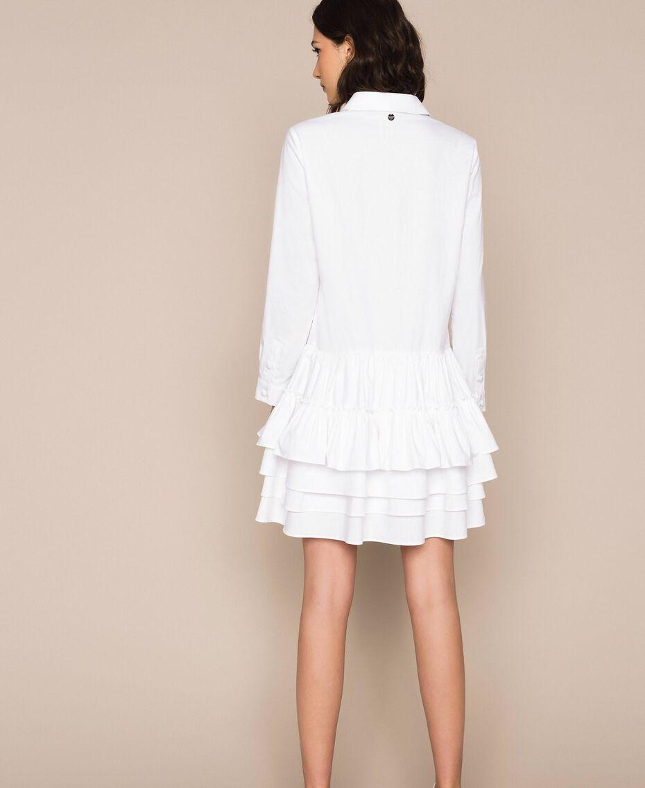 Поплиновое платье-рубашка с оборками Белый женщина 201ST2020-03