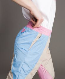 Colour block nylon jogging trousers Beige Porcelain Woman 191MP2093-04