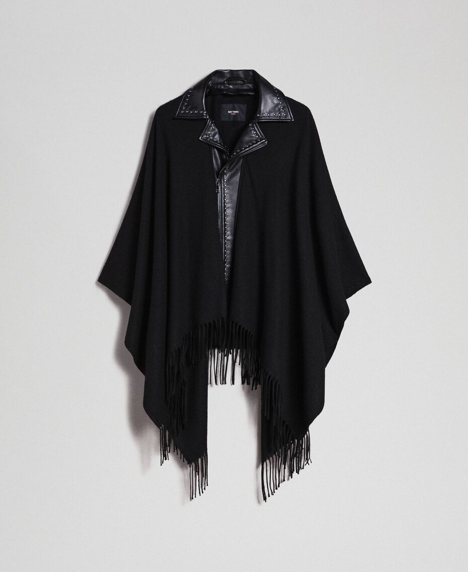 Fringed cape with double garment effect Black Woman 192MP2110-0S