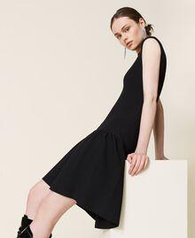 Robe côtelée avec jupe plissée Noir Femme 212AP3280-04