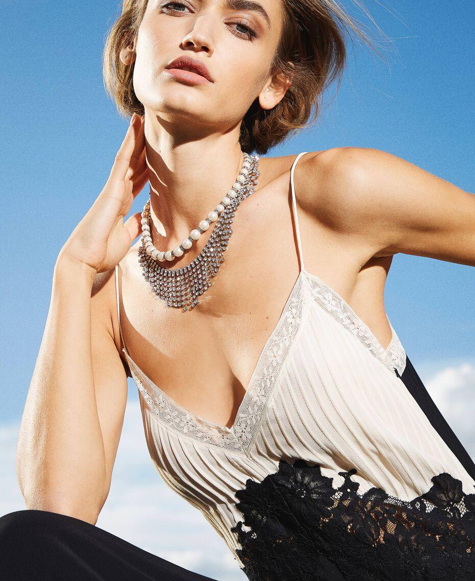 Collier ras-de-cou avec perles et strass Cristal Femme 202TA4313-0S