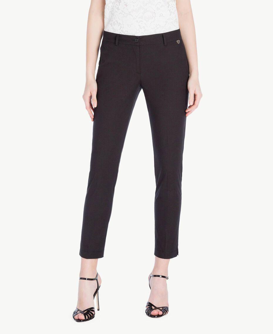 Pantalón pitillo de popelina Negro Mujer TS8213-01
