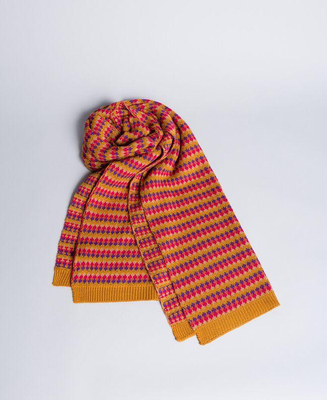 Écharpe jacquard multicolore Rayure Jacquard Camel Femme OA8T66-01