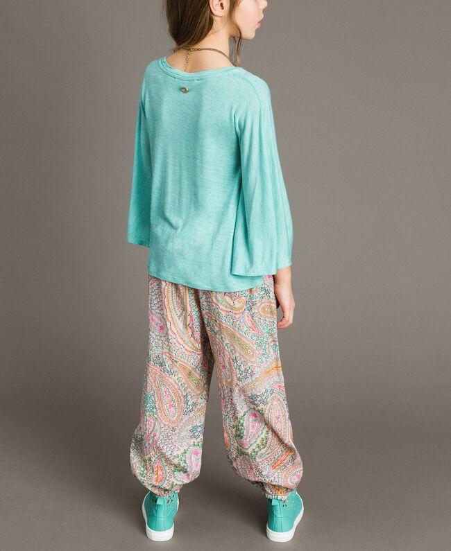 "Jersey T-shirt and multiclour necklace ""Island Paradise"" Light Blue Melange Child 191GJ2720-04"
