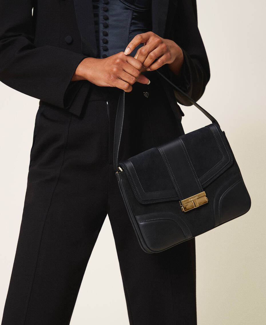 Smooth leather and suede bag Black Woman 202TB7281-0S