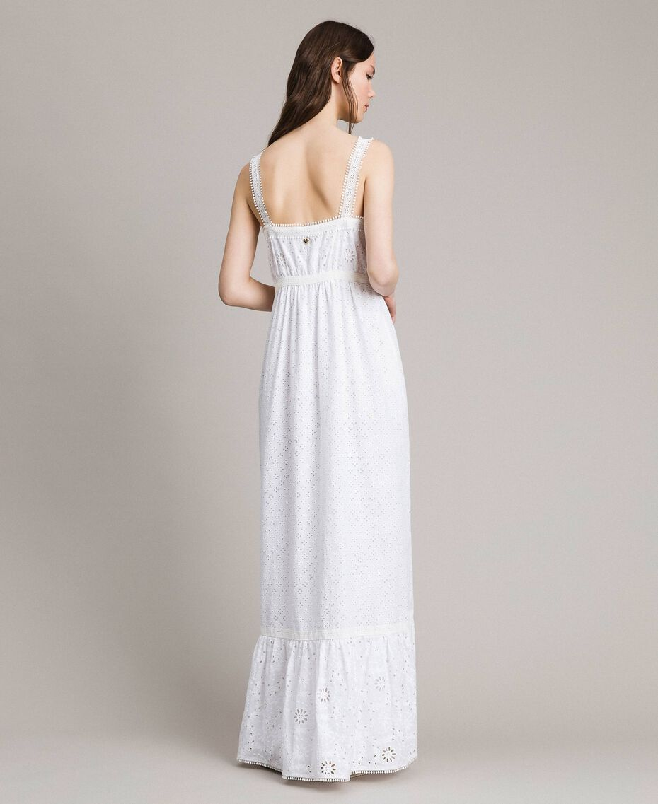 Broderie anglaise long dress with flounce White Woman 191MT2033-03
