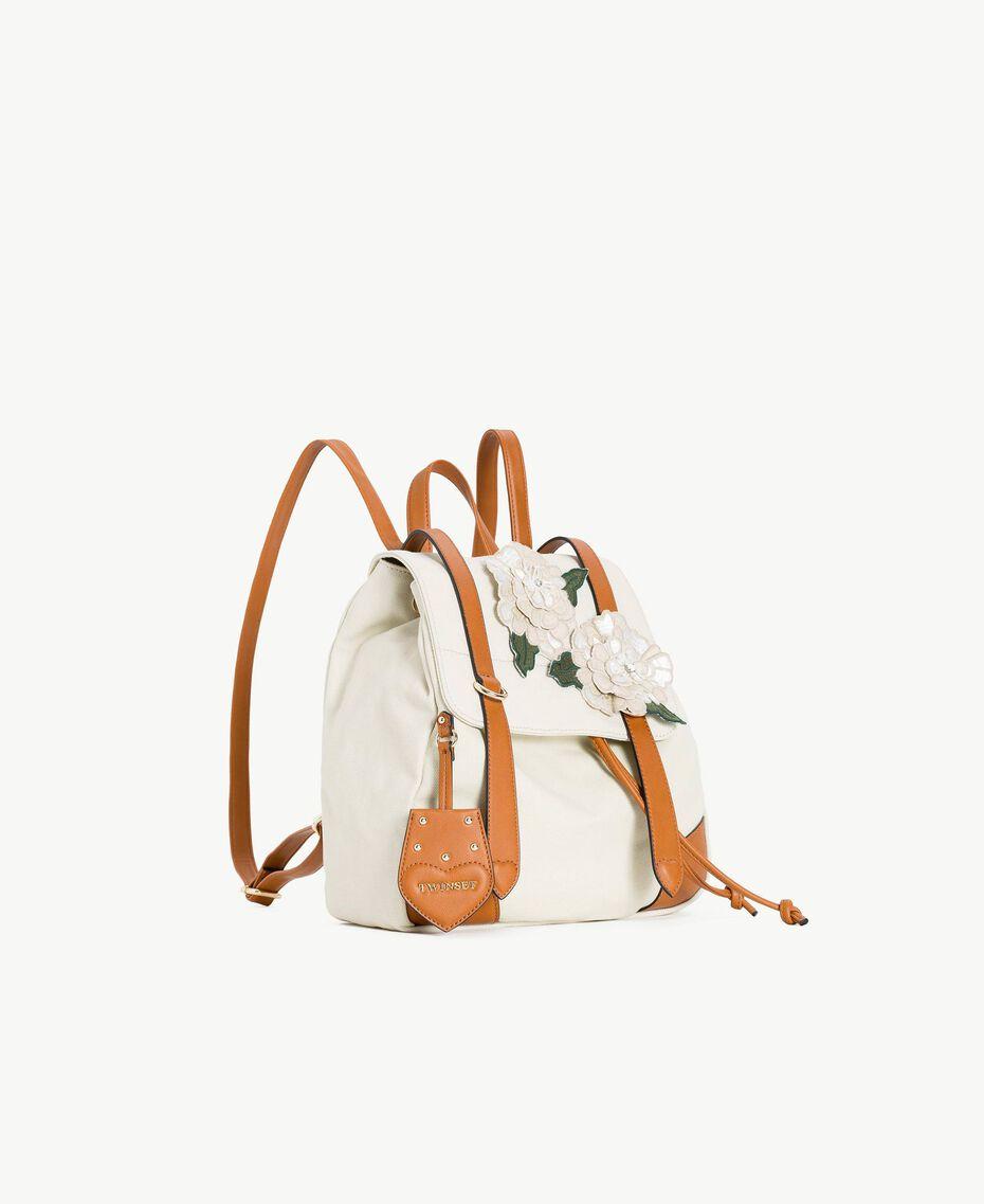 TWINSET Rucksack aus Canvas Zweifarbig Dünenbeige / Leder Frau OS8TAG-02