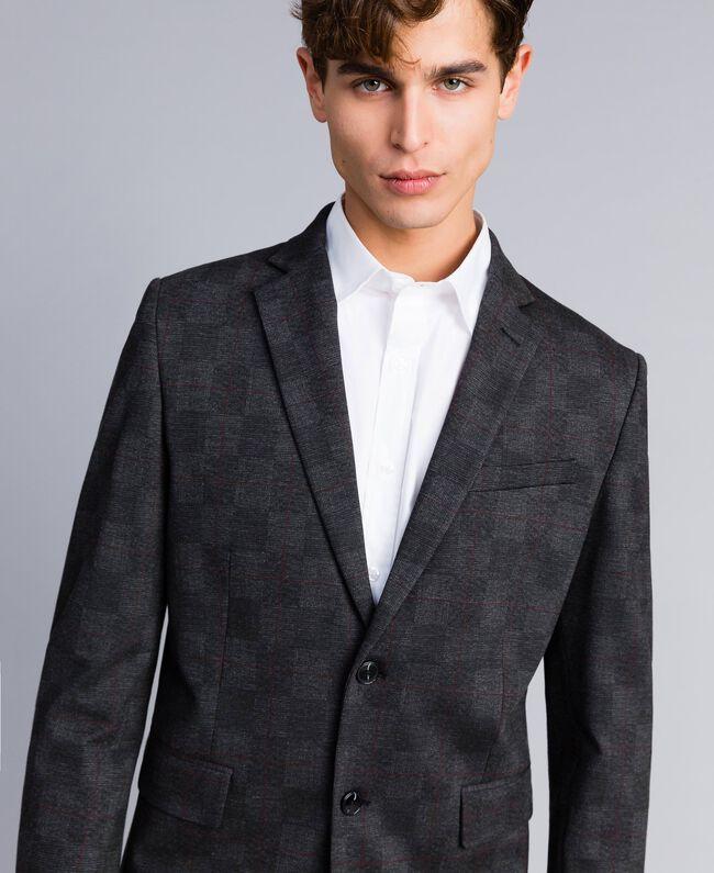 Printed blazer and trousers set Grey Melange Check Print Man UA82BN-03