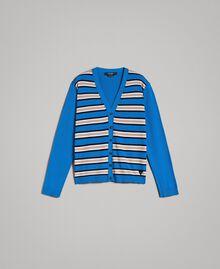 "Crêpe cotton striped cardigan Multicolour Bay Blue / ""Blackout"" Blau / Opaque White Man 191UT3032-0S"