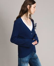 Cotton cardigan with brooch Indigo Woman 191MP3092-03