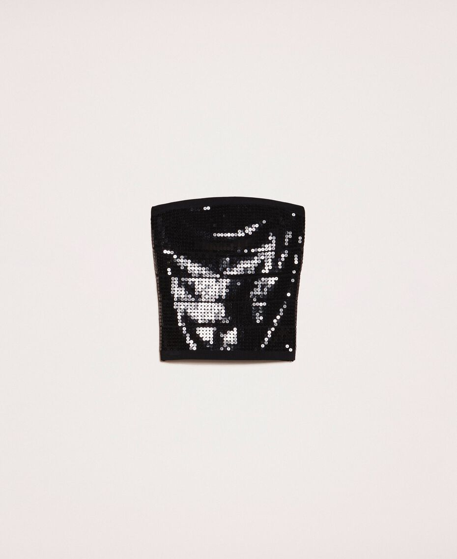 Bandeau top with sequins Black Woman 201MP3030-0S