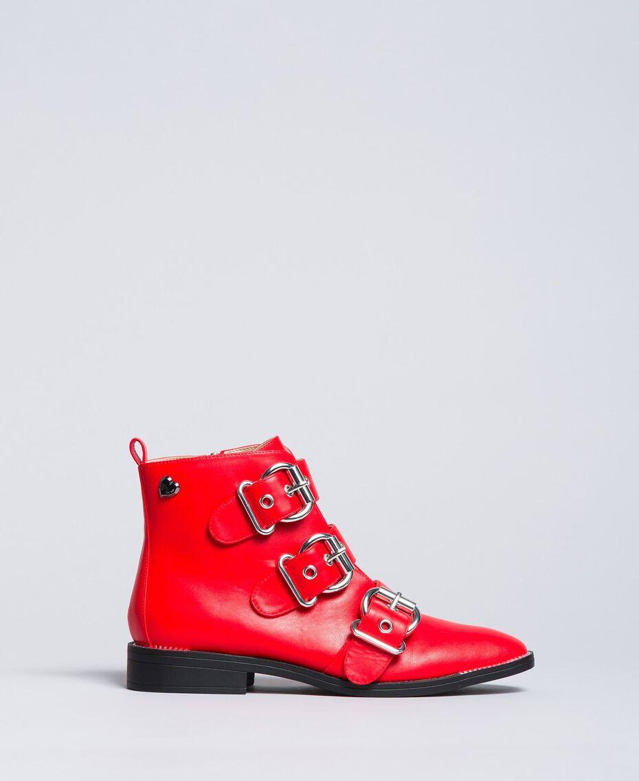 Bottines avec grandes boucles Rouge Coquelicot Femme DA8PHJ-02