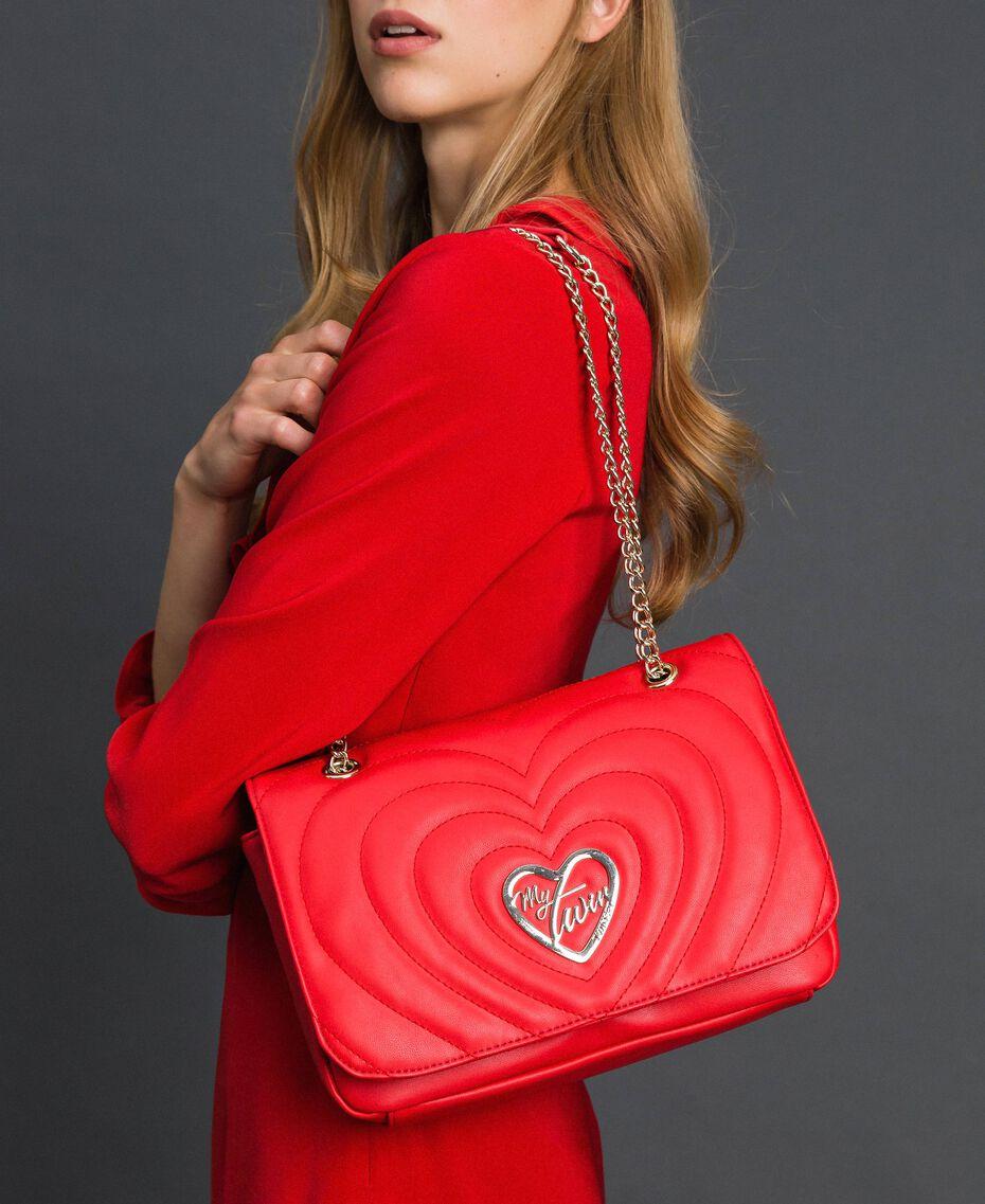Sac à bandoulière avec cœurs matelassés Rouge Coquelicot Femme 192MA7083-0S