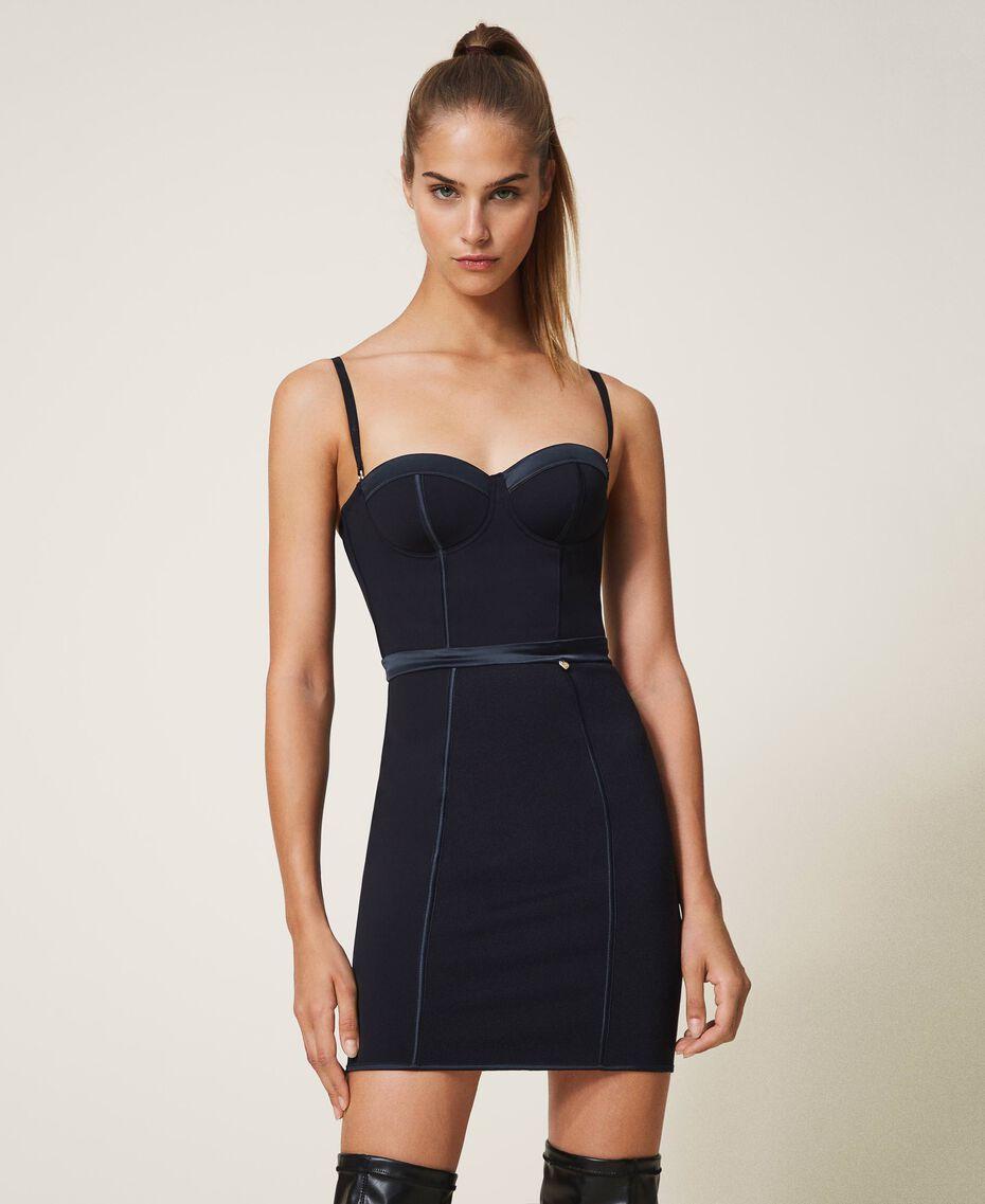 Scuba bustier dress Black Woman 202LL2MBB-01