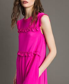 "Ruched georgette long dress ""Electric Pink"" Fuchsia Woman 191TP2323-04"