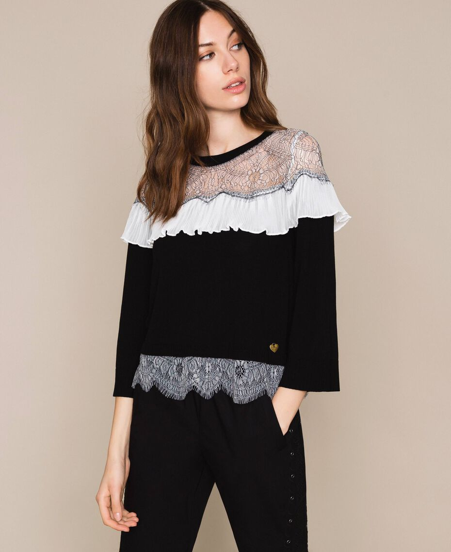 Jumper with two-tone lace and pleats Black Woman 201TT3141-01