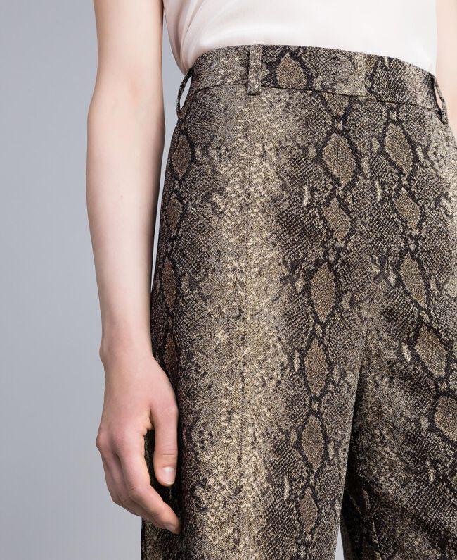 Animal print cropped trousers Camel Snake Jacquard Woman PA828P-04