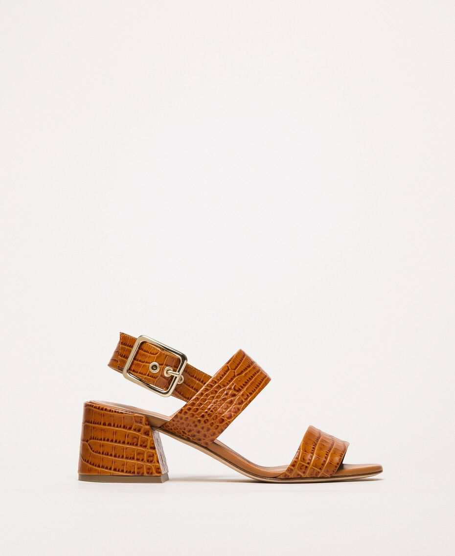 Leather sandals with croc print Crocodile Leather Print Woman 201TCT014-01