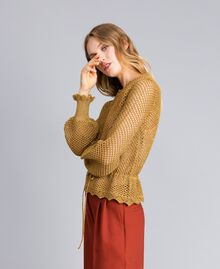 Pull en lurex point filet Jaune Or Femme TA83EB-02