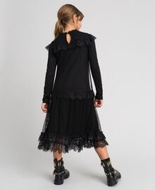 Mesh, tulle and lace long dress Black Child 192GJ2322-02